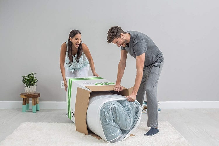 Couple Unpacking Ghostbed Mattress